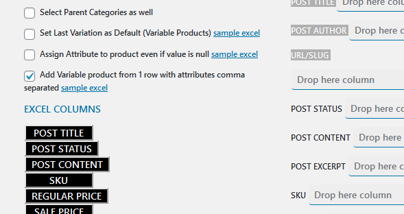 How to Import Variable Product in WooCommerce with 1 Excel Row?