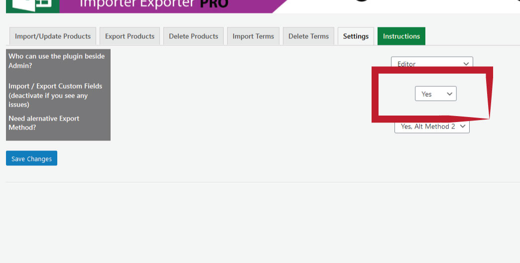 activate custom fields for product import export with excel