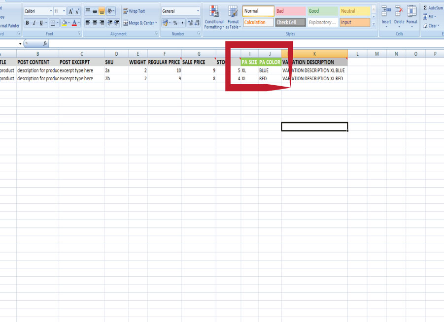 variable products import with excel for woocommerce