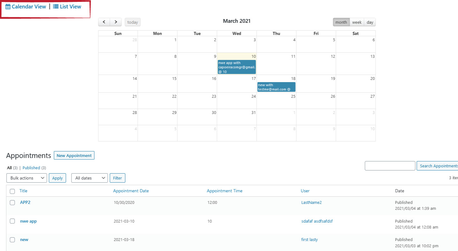 view business appointments calendar crm erp cusiness solution wordpress