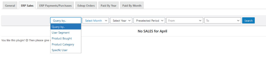 crm erp advanced sales payments reporting query by wordpress