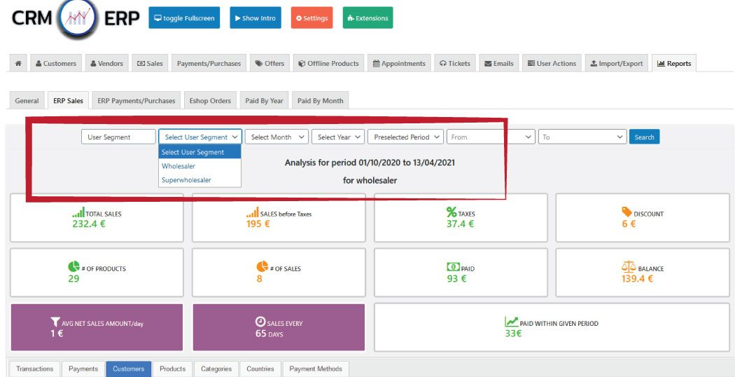 crm erp reporting by segment